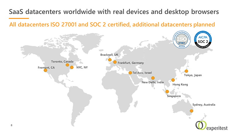 Global Datacenters - mobile app and web testing