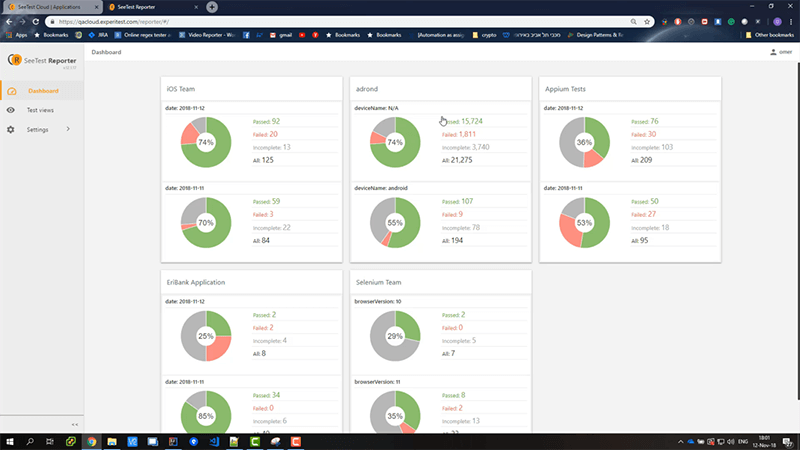 New test analytics interface - mobile app and web testing
