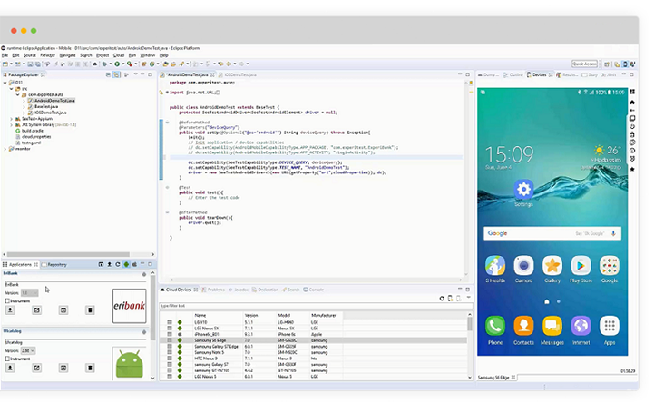 End-to-end web & mobile test automation from Eclipse
